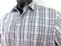 Mountain HardWear Gray Plaid Short Sleeve Vented Shirt Mens Extra Large XL Camp