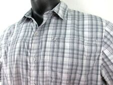 Mountain HardWear Gray Plaid Short Sleeve Vented Shirt Mens Extra Large XL Camp