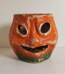 "Vintage Halloween Paper Mache Pulp JOL Pumpkin 4¼"""