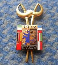 INTERNATIONAL CONTEST FENCING SABRE POLAND KRAKOW 1972 RARE PIN BADGE
