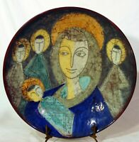 Michael Andersen Denmark Art Pottery Religious Plaque Plate Mary Child Jesus MAS