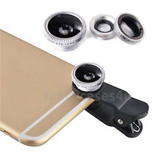 Fisheye Grand Angle & Macro Photo Argent Clip Lens Téléphone Portable Caméra Set Kit UK