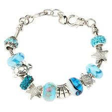 Ocean Style Blue Glass Beads Sea Turtle Charm Bracelet Silver Plated Bangle Gift
