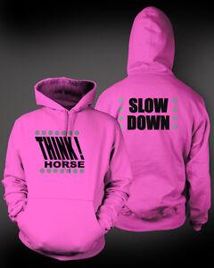 Hi-Viz Equestrian Adult Hoodie THINK HORSE / SLOW DOWN 4 Ultra bright colours