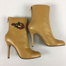 Martinez Valero Tan Leather Ankle Boots Size 7.5 Rose Print Heels