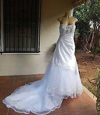 SOPHIA TOLLI WEDDING GOWN WHITE SATIN & TULLE STRAPLESS GLASS BEADS SZ 6 W TRAIN