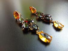 Boucles d'oreilles or 18 carats plaquée or avec marron pierres cristaux, de