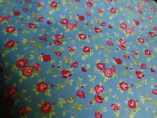 Pretty Blue, Tiny Pink & Red Roses Allover, Handmade Bedroom, Door VALANCES