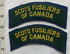 An Original Pair Of WWII Scots Fusiliers Canada Cloth shoulder Title Badge (114)