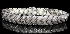 White Gold Finish 1.00CT Genuine Real Diamond Chevron Style Link Ladies Bracelet