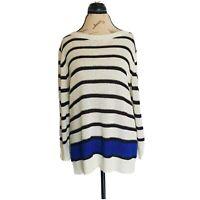 Black Rivet Size XL Knit Sweater Women's 3/4 Sleeve White Black Blue Striped Top