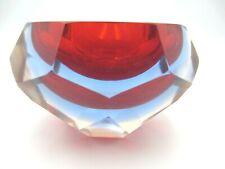 Mandruzzato Murano sfaccettatura taglio Geometrico Rosso Blu Rosa + UV VERDE Sommerso Ciotola
