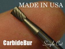 "New listing Solid Carbide Burr Sn-42 Single Cut 1/8"" Inverted Taper Tool Bur Bit"