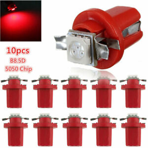 10pcs Red T5 B8.5D 5050 1SMD Car LED Dashboard Dash Gauge Instrument Light Bulbs