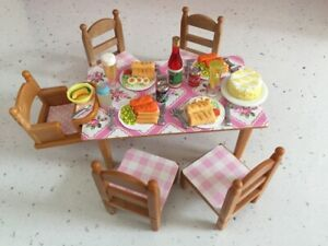 Sylvanian Families Furniture House Table & Chairs With Accessories