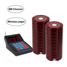 999 Channel Wireless Queuing Paging System Cafe 1Transmitter+20 Coasters Pagers