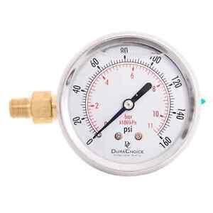 """2-1/2"""" Silicone Oil Filled Pressure Gauge SS/Br 1/8"""" NPT Left Side Mount 0-16..."""
