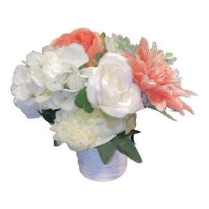 New Artificial Flowers Arranements Roses White Salmo  Coral Bouquets Centerpiece