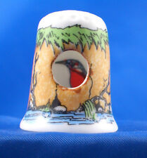 Birchcroft China Thimble -- Peephole -- Kingfisher in Riverbank -- Free Dome Box