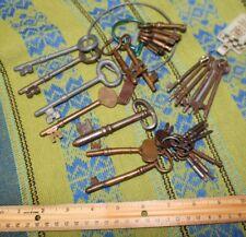 Large Lot of 31 Antique Keys Oversized Skelton Brass Clock Railroad Padlock