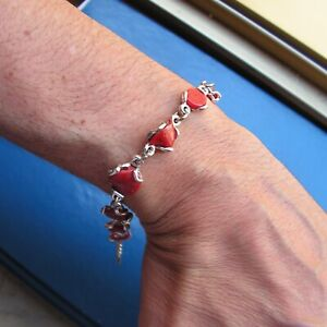 Original Ball 8mm Red Coral Bead Bracelet Made Italy Artisan 1