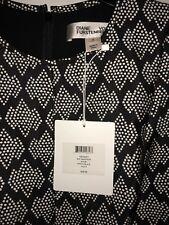 DVF Diane Von Furstenburg Madyson Shift Dress Kyoto Black White Sz. 8 NWT $468