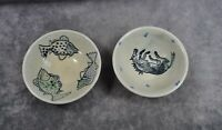 Set of 2 Handmade Art Pottery Bowls Signed Handpainted Fish and Horses