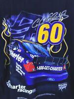Vtg Carl Edwards NASCAR NATIONWIDE TShirt XL 2004 Roush Racing Team CHARTER #60