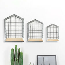 3pc Black Iron Wire Wall Shelving Unit Industrial Floating Vintage Shelf Home