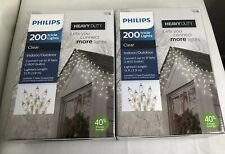 2- New PHILIPS Heavy Duty 200ct Clear Icicle Lights White Wire