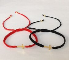Christianity protection Red or Black macrame Cord bracelet w gold field Cross