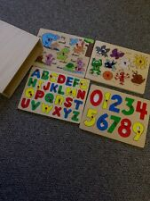 Wooden Puzzles With Wooden Storage Case - Lot Of 4