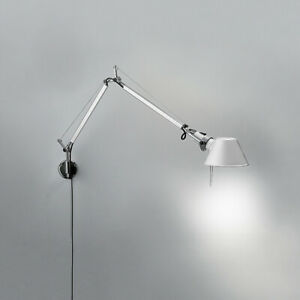Pair Of ARTEMIDE Tolomeo Wall Lamp w/ S-Bracket Aluminum by De Lucchi, Fassina