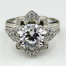 Classic Flower Lotus 2Ct Brilliant Round Cut 925 Silver Engagement Wedding Ring