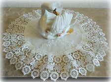 """15"""" Doily Ivory Princess Lace European Dresser Table Scarf Topper"""