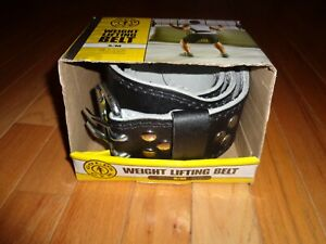 Gold's Gym Weight Lifting Split Leather Belt Size S/M Black 22-33 Inches Padded