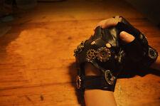 Women's Steampunk Rock Biker Rivet Leather Driving Fingerless Half Finger Gloves