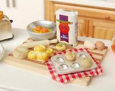 1/12 Miniature Kitchen Food Eggs Milk Bread on Board for Dollhouse Kitchen