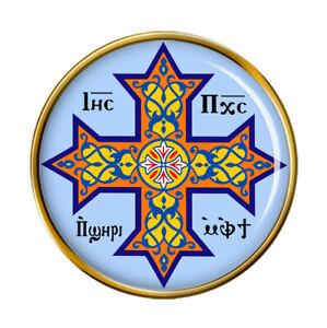 Coptic Cross Christian Pin Badge