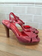 Oasis Metallic Red Leather High Heels Strappy Open Sandals Shoes UK 5 38 Party