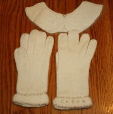 Vintage Women's 1950's Knit Dress Gloves With Bead Trim And Collar W/ Box