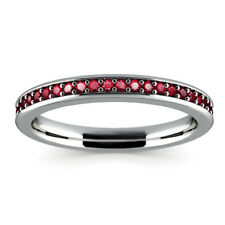 0.78 Ct Natural Ruby Gemstone Rings Real 14K White Gold Size M, P, N, O