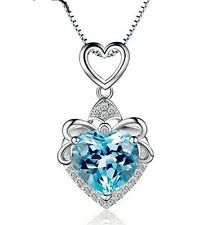 "Silver Swarovski Element Crystal Heart Love Amethyst Pendant Necklace 18"" Chain"