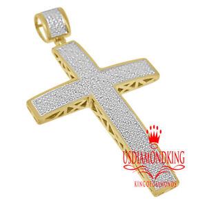 XL 2.75'' Genuine Real Diamond Jesus Cross Pendant Charm 10K Yellow Gold Finish