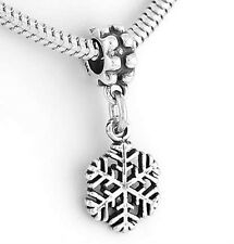 STERLING SILVER DANGLE SNOWFLAKE EUROPEAN  BEAD