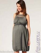 ASOS Maternity Cut Out Neckline Cocktail Tea Party Dress Silver Grey in Size L
