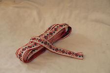 Vintage Jacquard Embroidery Cotton Trim Flag Red Blue White Sew Craft Ribbon