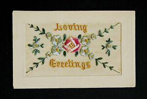 WW1 Silk Postcard Loving Greetings Grosvenor Road Forest Gate London E7