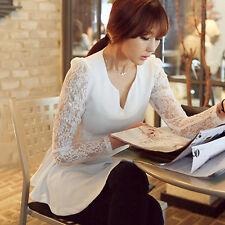 Women's Elegant Lace Long Sleeve V-Neck Party Blouse Peplum Shirt Top Stylish