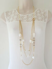 "Beautiful 40"" long gold tone layered chain & white & pearl bead necklace, NEW"